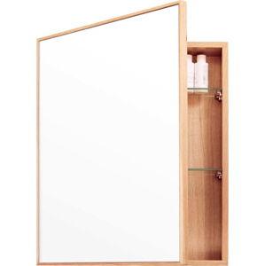 Nástěnné zrcadlo s úložným prostorem z dubového dřeva Mezza Wireworks, 45x55 cm