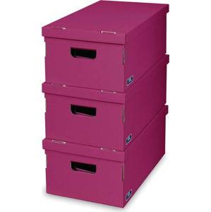 Sada 3 fialových úložných boxů Domopak Living