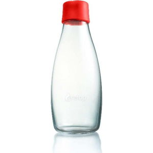 Červená skleněná lahev ReTap s doživotní zárukou, 500ml