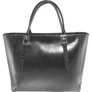 Černá kožená kabelka Chicca Borse Tami
