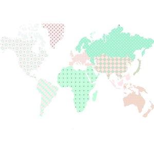 Nástěnná samolepka Dekornik Map Pastel, 150x90cm