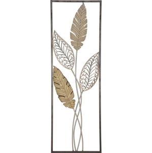 Nástěnná dekorace ve zlaté barvě Mauro Ferretti Foglie, 30,5x91cm