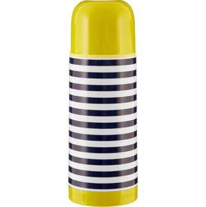 Modro-bílá pruhovaná termoska se zeleným víčkem Premier Housewares Mimo,350ml