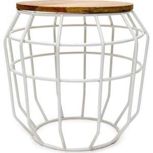 Bílý příruční stolek s deskou z mangového dřeva LABEL51 Pixel, ⌀51 cm