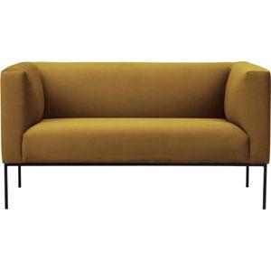 Žlutá sametová dvoumístná pohovka Windsor & Co Sofas Neptune