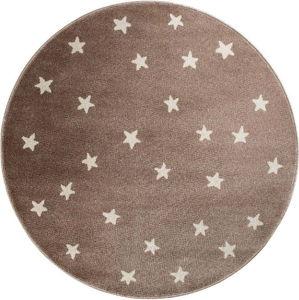 Hnědý kulatý koberec s hvězdami KICOTI Beige, ø 100 cm