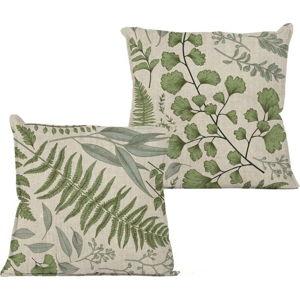 Béžový polštář s motivem listu Linen Couture Botanical,45x45cm