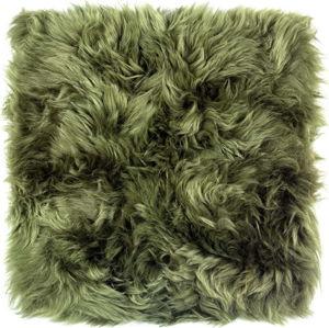 Tmavě zelený podsedák z ovčí kožešiny na jídelní židli Royal Dream Zealand, 40x40cm