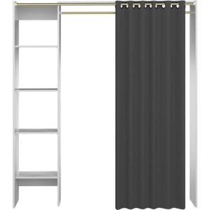 Bílý úložný systém s policemi a tmavě šedým závěsem TemaHome Tom