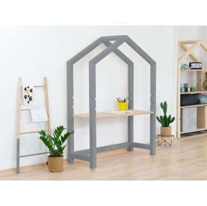 Šedý dřevěný domečkový stůl s béžovou deskou BenlemiStolly, 97x133cm