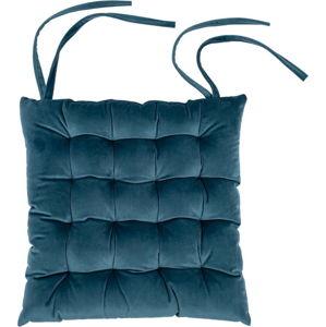 Modrý sametový podsedák Tiseco Home Studio,37x37cm