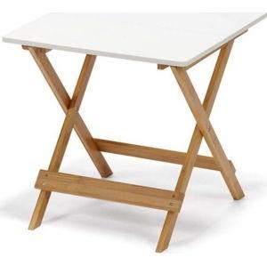 Bílý sklápěcí stolek s bambusovými nohami loomi.design Lora
