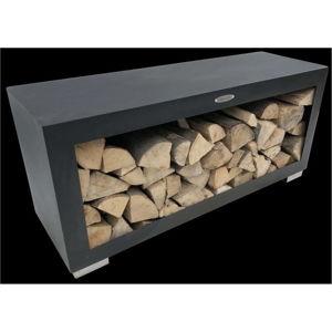 Černý ocelový dřevník Remundi,šířka119cm