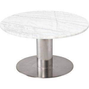 Bílý mramorový konferenční stolek s podnožím ve stříbrné barvě RGE Pepo, ⌀ 85 cm