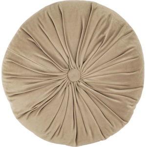 Tmavě béžový sametový dekorativní polštář Tiseco Home Studio Velvet,ø38cm