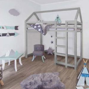 Šedá vyvýšená postel ze smrkového dřeva s žebříkem vpravo BenlemiNesty, 120x200cm