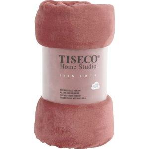 Růžová mikroplyšová deka Tiseco Home Studio,130x160cm