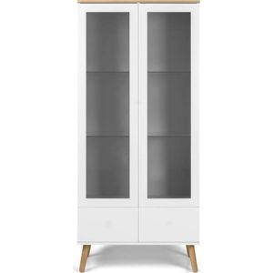 Bílá vitrína s nohami z dubového dřeva Tenzo Dot, výška 175 cm