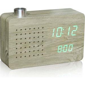 Světle hnědý budík se zeleným LED displejem a rádiem Gingko Radio Click Clock