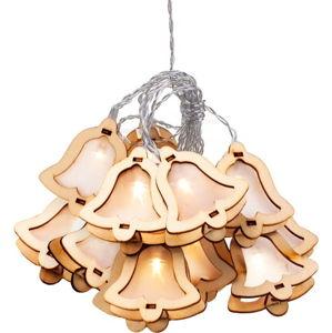 LED světelný řetěz ve tvaru zvonků DecoKing Woodenbell, 10 světýlek, délka 1,85 m