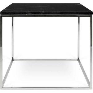 Černý mramorový konferenční stolek s chromovými nohami TemaHome Gleam, 50 x 50 cm