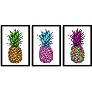 Trojdílný obraz Pineapple, 109x50 cm
