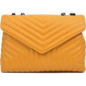 Žlutá kožená taška přes rameno se 3 kapsami Luisa Vannini