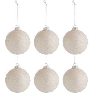 Sada 6 béžových skleněných vánočních ozdob J-Line Pearls,ø8cm