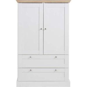 Bílá dvoudveřová šatní skříň s detaily v dubovém dekoru Støraa Bruce