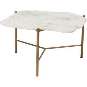 Bílý konferenční stolek s mramorovou deskou Kare Design Piedra, 76 x 72 cm