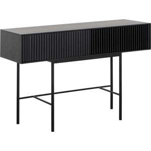 Černý konzolový stolek z dubového dřeva a kovovými nohami Canett Oxford, délka 120 cm