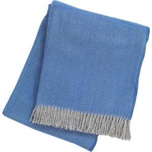 Kobaltově modrý pléd s podílem bavlny Euromant Skyline II, 140 x 180 cm
