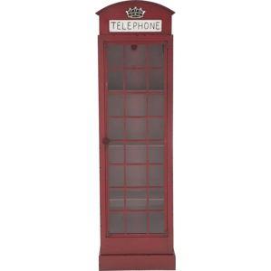 Červená železná vitrína Mauro Ferretti London Telephone Booth, výška180cm