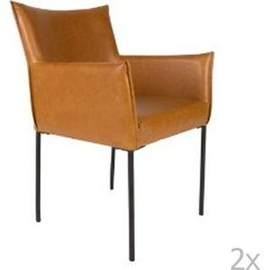 Sada 2 koňakově hnědých jídelních židlí White Label Dion