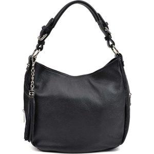 Černá kožená kabelka se střapcem Anna Luchini