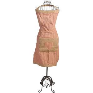 Pruhovaná zástěra z bavlny a lnu Antic Line Peach