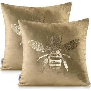 Sada 2 potahů na polštáře ve zlaté barvě AmeliaHome Nancy Bee Gold, 45 x 45 cm