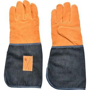 Modro-oranžové zahradnické rukavice s ochranou zápěstí Esschert Design Denim