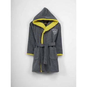 Dětský šedo-žlutý bavlněný župan s kapucí, 9-12 let