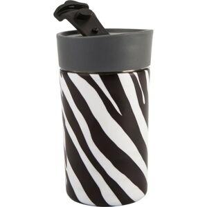 Černo-bílý nerezový termohrnek Navigate Zebra, 300 ml