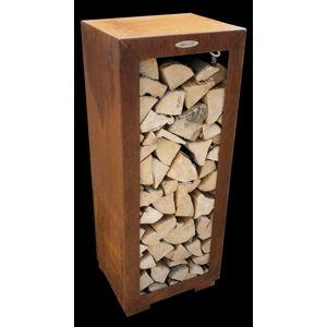 Hnědý ocelový dřevník Remundi,šířka50cm