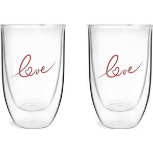 Sada 2 dvoustěných sklenic s potiskem Love Vialli Design, 350 ml