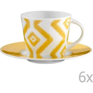 Sada 6 porcelánových hrnků na čaj s podšálky Vasilissa, 200 ml