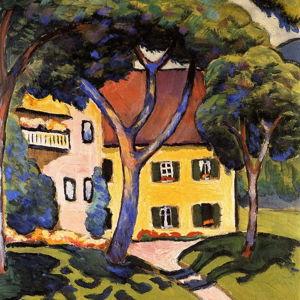Reprodukce obrazu August Macke - House in a Landscape, 60x60cm