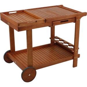 Zahradní servírovací vozík se 2 podnosy z eukalyptového dřeva ADDU Hayward