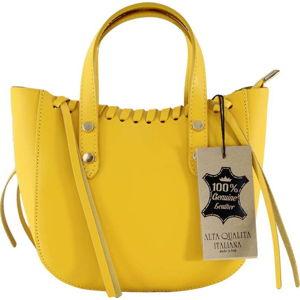 Žlutá kožená kabelka Chicca Borse Anna