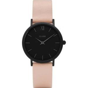 Dámské hodinky s koženým řemínkem a černým ciferníkem Cluse Minuit
