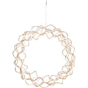 Měděná LED světelná dekorace Best Season Curly, ø 30 cm