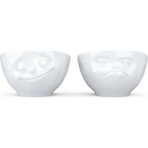 Sada 2 bílých porcelánových kalíšků na vajíčka 58products Happy & Hmpff