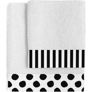 Sada 2 bavlněných ručníků Blanc Dot